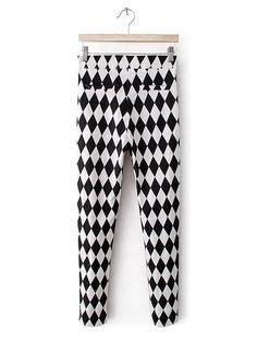 Black and White Rhombus Print Crop Pant Cheap Pants, Online Sales, Cheap Fashion, Fashion Pants, Cropped Pants, Pants For Women, Pajama Pants, Plaid, Black And White