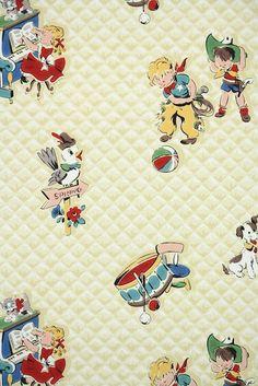 little cowboys and playtime toys, childrens nursery vintage wallpaper Vintage Wallpaper Patterns, Retro Wallpaper, Kids Wallpaper, Pattern Wallpaper, Playing Piano, Kids Playing, Little Cowboy, Retro Baby, Nursery Wallpaper