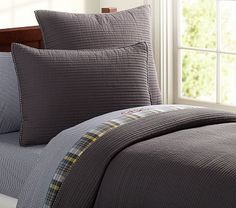 Kingston Quilted Bedding #PotteryBarnKids.....Grey and Blue, with a splash of yellow.
