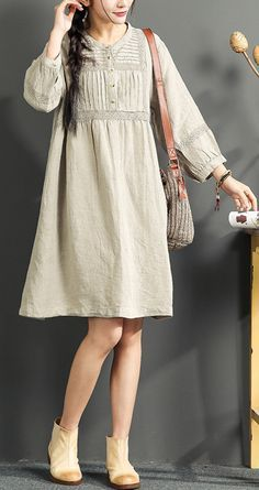 2017 gray plus size hollow out sundress embroidery linen dresses vintage bracelet sleeved summer dress
