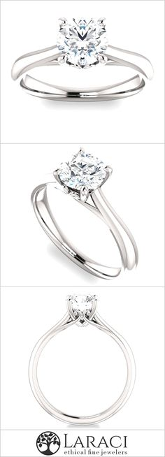 14K White Gold Solitaire Engagement Ring set with a 1ct 6.5mm Round Forever Brilliant