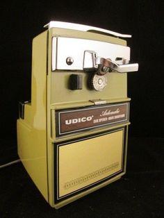 Vintage UDICO Chrome Green Electric Can Opener / Knife Sharpener WORKS!  #Udico