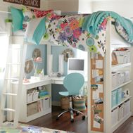 kids bed/loft with storage, a desk, bookcase....totally RAD!!