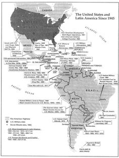 US Interventions Map Early S Latin America Pinterest - Us latin american intervention maps