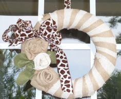 two different colored burlap strips, love the burlap rosettes!