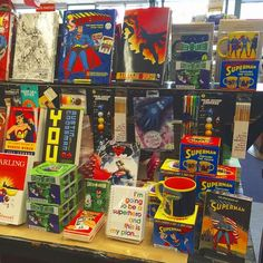 Superheroes display in honor of Batman v Superman!