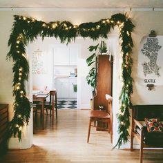 garland around doorway