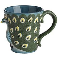 Pier 1 has lots of pretty peacock stuff! This mug also comes in an owl version.