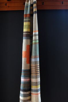 russet cross linen and hemp handwoven scarf by avalanchelooms