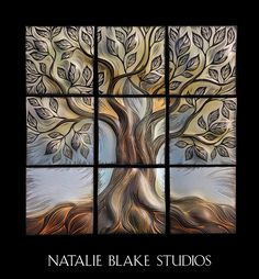 Sgraffito carved Tree of Life by Natalie Blake Studios ~ handmade undulating ceramic porcelain tiles