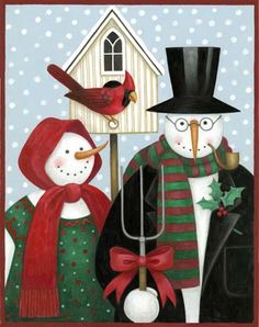 American Gothic: Snowmen by Stephanie Stouffer Christmas Snowman, Christmas Crafts, Christmas Holidays, Christmas Ornaments, Christmas Ideas, Christmas Printables, Christmas Decoupage, Snowman Crafts, Printable Crafts