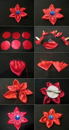DIY Hair Accessories DIY Hair Clip DIY How to make a fabric flower hair clip DIY Barrettes