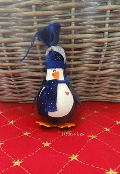 Hand Painted Christmas Penguin Lightbulb Light Bulb Ornament OOAK Royal Blue Scarf and Hat