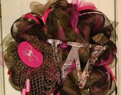 browning deer burlap baby door hospital hanger | Hot Pink Camo Wreath. This wreath c an be done with or without the ...