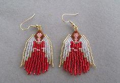 Beaded Angel Earrings in Red delica beads on Etsy, $20.00