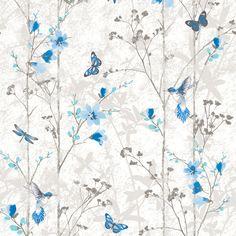 Muriva Eden Butterflies Wallpaper - Blue - http://godecorating.co.uk/muriva-eden-butterflies-wallpaper-blue/