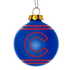 Chicago Cubs MLB 2014 Glitter Logo Glass Ball Ornament