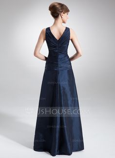 A-Line/Princess V-neck Floor-Length Ruffle Beading Zipper Up Regular Straps Sleeveless Yes Dark Navy Fall Winter General Plus Taffeta Mother of the Bride Dress