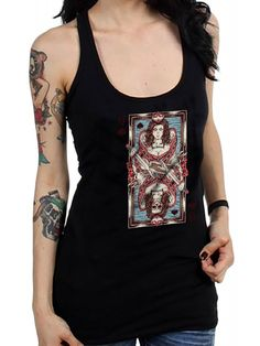 Fifty5 Clothing Women's Queen Of Hearts Racerback Tank Top - Black