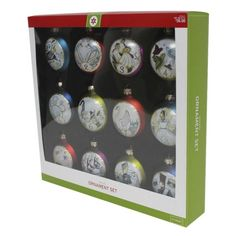 "12-Piece 12 Days of Christmas 3"" Discs Ornament Set. Find seasonal decorations at Target.com! Count down the 12 days of christmas with this classic ornament set based on the iconic holiday carol. The 3"" glass ornaments feature beautiful illustrations, each depicting a verse from the song. The elegant, shiny ornaments are made of glass and will add a traditional feel to your holidays.. Price: $30.00"