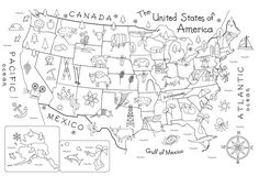 i like this! how fun would it be to make a gigantic map display (i'm talking wide open hallway size) where each student researches a state and labels it with several illustrations that represent that state (like this but more), then all states get pieced together to form a dazzling visual map.. oooh!