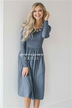 Solid Light Gray Soft Dress, Modest Dress Bridesmaids Dress, best modest boutique, cute modest clothes, modest dresses, best online modest boutique, floral dresses, modest dresses for church, modest skirts, buy modest clothes online