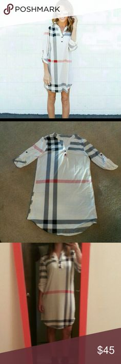 Burberry pattern dress. Fits small/medium. Not Burberry! !! Very soft and stretchy material.  Nwot. Burberry Dresses Midi
