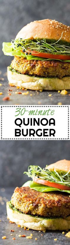 Tired of reading 500-ingredient 2-hour quinoa burger recipes? Welcome to this healthy 30-Minute Quinoa Burger Recipe. 12 ingredients + 30 minutes = dinner! via /greenhealthycoo/