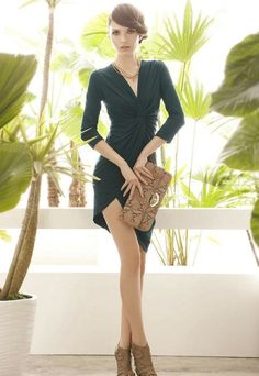 Spredfashion spredfashion.com Green Dress Viparo