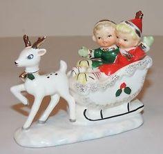 Vintage Christmas Figurine Kids in Sleigh Reindeer Napco era