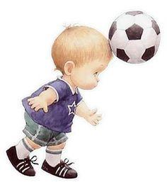 little boy playing football...