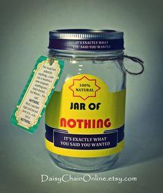 Best Gag Gift - A Jar of Nothing - Funny Gift for Boyfriend, Girlfriend, Gift for Men, Women, Friends - Birthday Gift, Christmas Gift    ***