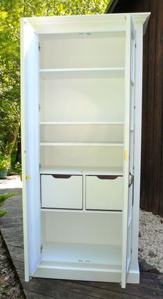 Tall Pantry Cabinet, Hallway Cabinet, Kitchen Pantry Cabinets, Free Standing Kitchen Pantry, Sewing Room Organization, Organization Ideas, Heavy Duty Hinges, Utility Cabinets, Unfinished Furniture