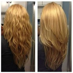 Gorgeous low maintenance hair color. Honey golden brown to a stunning bright blonde. Disconnected short layers up top for some added volume while still maintaining a thick bottom line.