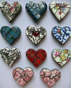 Mosaic hearts from china dishes