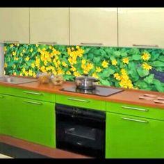 Glasrückwand Gelbe Blüten Küche Grün Frisch Spüle Herd | Lakberendezés |  Pinterest