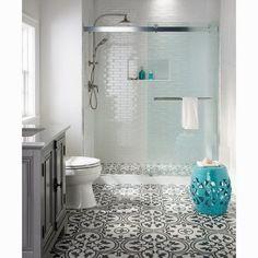 """EliteTile Artea 9.5"""" x 9.5"""" Porcelain Field Tile in White/Gray"""