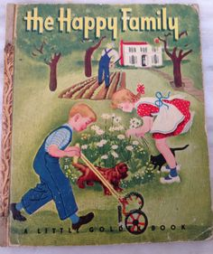 vintage Little Golden Book The Happy Family,  by Nicole Illustrated by Gertrude Elliott, LGB hardback 1947 edition B by MotherMuse on Etsy