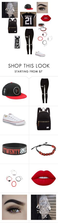 """""""Twenty one pilots"""" by amalia073 ❤ liked on Polyvore featuring Hot Topic, Topshop, Converse, Herschel Supply Co., Lime Crime and OTM Essentials"""