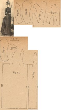 Der Bazar 1889: Woollen and moire dress; 14. vest insertion part, 15. front jacket lapel part, 16. and 17. side and back parts with bodice gores, 18. collar in half size, 19. and 20. sleeve parts (taffeta foundation skirt in front covered by pleated moire)