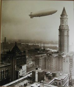 May 6, 1937, The Hindenburg flying over Boston about 11:40am. 9hrs 5min before the airship would explode over New Jersey.