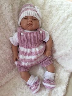 New: Pretty Knitted Outfit For 18 Reborn Baby Girl Or Early/premmie Baby
