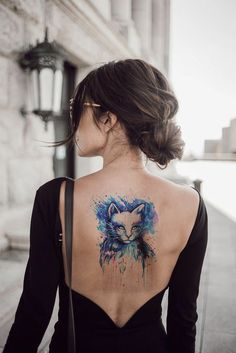 Watercolor Cat Temporary Tattoo