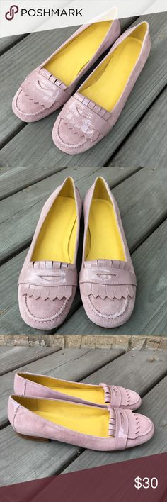 New GAP Pink Penny Loafer Shoes Suede Leather 7 Brand new without box. These have been in storage for some time, have been tried on but never worn outside. They have some insole discoloration from the glue that's holding the insole down. Nothing major and can't be seen when worn, but worth mentioning. Happy poshing! :) GAP Shoes Flats & Loafers