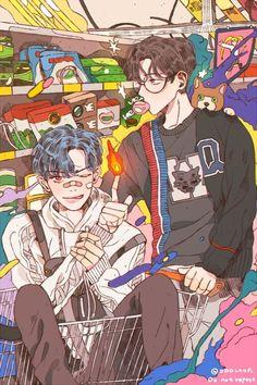 Chanbaek Fanart, Kpop Fanart, Exo Chanbaek, Baekhyun Chanyeol, Kpop Anime, Anime Guys, Aesthetic Art, Aesthetic Anime, Pretty Art