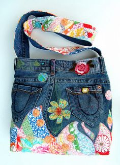 Peony Pink large denim wearable art cross body bag embellished with quilted appliques $225