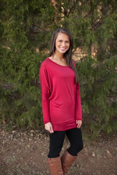 The Pink Lily Boutique - Burgundy Everyday Taupe Tunic, $30.00 (http://www.thepinklilyboutique.com/burgundy-everyday-taupe-tunic/)