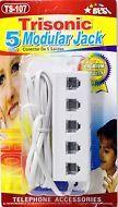 5-WAY PHONE TELEPHONE LINE JACK PLUG OUTLET SOCKET SPLITTER ADAPTER 6ft