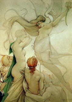"""Annunciation"" 1990 oil and pencil by Michael Parkes Love Art, All Art, Art Visionnaire, Ligne Claire, Magic Realism, Poster Prints, Art Prints, Visionary Art, Surreal Art"