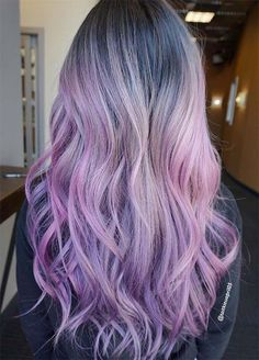 50 Lovely Purple & Lavender Hair Colors in Balayage and Ombre - Hair Art - Lilac Hair Balayage Hair Brunette Long, Pink Blonde Hair, Purple Balayage, Hair Color Balayage, Ombre Hair, Dark Brunette, Wavy Hair, Dyed Hair, Lavender Hair Colors